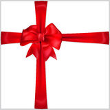 Bow of red ribbon. Red bow with crosswise ribbons Royalty Free Stock Images