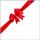 Bow of red ribbon. Red bow with diagonally ribbon Stock Image
