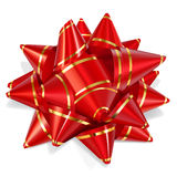 Bow of red ribbon with gold stripes. With shadow on white background Royalty Free Stock Photography