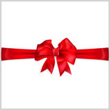Bow of red ribbon. Red bow with horizontal ribbon Stock Photography