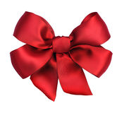 Bow.Red Satin gift ribbon. Red satin gift bow close-up.Ribbon. Isolated on white