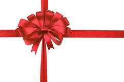 Bow of red satin ribbon. Stock Images