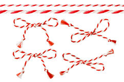 Bow of Red White String, Twine Rope Decoration, Twisted Thread Royalty Free Stock Images