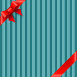 Bow and ribbon on blue striped background. Vector Royalty Free Stock Image