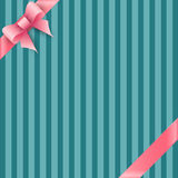 Bow and ribbon on blue striped background Royalty Free Stock Photos