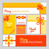 Bow And Ribbon Cards Stock Photography