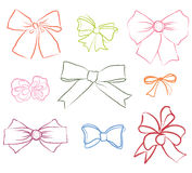 Bow ribbon  collection. Gift decor set Royalty Free Stock Photo