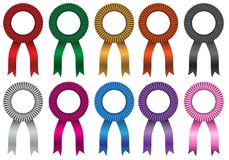Bow ribbon colors set collection with white circle blank isolated vector stock illustration