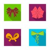Bow, ribbon, decoration, and other web icon in flat style. Gift, bows, node, icons in set collection. Royalty Free Stock Photos