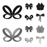 Bow, ribbon, decoration, and other web icon in black,monochrom style. Gift, bows, node, icons in set collection. Bow, ribbon, decoration, and other  icon in Royalty Free Stock Images