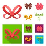Bow, ribbon, decoration, and other web icon in cartoon,flat style. Gift, bows, node, icons in set collection. Bow, ribbon, decoration, and other  icon in Royalty Free Stock Photography