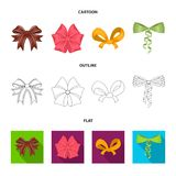 Bow, ribbon, decoration, and other web icon in cartoon,outline,flat style. Gift, bows, node, icons in set collection. Bow, ribbon, decoration, and other  icon Stock Photography