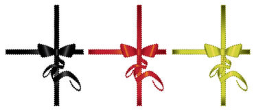 Bow and Ribbon gift Element. S - black, red, and yellow ribbons isolated on white Royalty Free Illustration