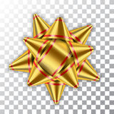 Bow ribbon gold christmas vector Royalty Free Stock Images