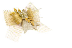 Bow ribbon gold for gift Royalty Free Stock Image