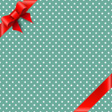Bow and ribbon on green background. Bow and ribbon on green polka dot background Stock Image