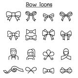 Bow & Ribbon icon set in thin line style Royalty Free Stock Photo