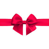 Bow with ribbon isolated on white background. Red bow with ribbon isolated on white background. Realistic vector Stock Photos