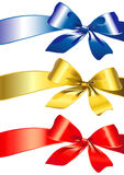 Bow, ribbon, red, gold, blue Stock Photo