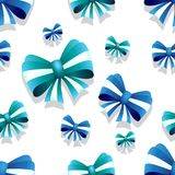 Bow and ribbon seamless pattern in blue and teal colors. Vector illustration. Ideal for wallpaper, wrapping, packaging and any kind of decoration Royalty Free Stock Image