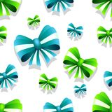 Bow and ribbon seamless pattern in green and teal colors. Vector illustration. Ideal for wallpaper, wrapping, packaging and any kind of decoration Royalty Free Stock Photo