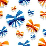 Bow and ribbon seamless pattern in orange and blue colors. Vector illustration. Ideal for wallpaper, wrapping, packaging and any kind of decoration Stock Photos