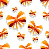 Bow and ribbon seamless pattern in orange color. Vector illustration. Ideal for wallpaper, wrapping, packaging and any kind of decoration Royalty Free Stock Photography