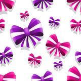 Bow and ribbon seamless pattern in pink and purple colors. Vector illustration. Ideal for wallpaper, wrapping, packaging and any kind of decoration Stock Photography