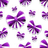 Bow and ribbon seamless pattern in purple color. Vector illustration. Ideal for wallpaper, wrapping, packaging and any kind of decoration Royalty Free Stock Image