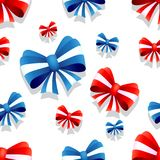 Bow and ribbon seamless pattern in red and blue colors. Vector illustration. Ideal for wallpaper, wrapping, packaging and any kind of decoration Stock Image