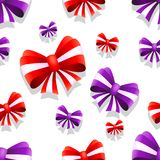 Bow and ribbon seamless pattern in red and purple colors. Vector illustration. Ideal for wallpaper, wrapping, packaging and any kind of decoration Stock Photo