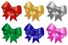 Bow and ribbon set. Set of multicolor bows: red, gold, silver, green, blue and pink. For your Christmas gifts,  your newborn baby or any other celebration Stock Photography