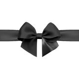 Bow with ribbon  on white background. Black bow with ribbon  on white background. Realistic vector Royalty Free Stock Photography
