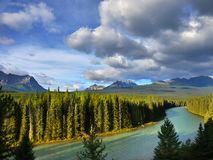 Bow River, Banff NP, Canadian Rockies. Viewpoint from Bow Valley Parkway road. Bow river and Canadian Rockies. Banff NP, Alberta Canada stock photo