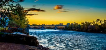The bow river in Calgary. A long exposure of the bow river at sun set Royalty Free Stock Photo