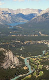 Bow River, Canada. Bow River in the Canadian Rockies, Banff National Park from Mount Sulphur Stock Image