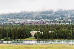 The Bow River in Canmore Stock Images