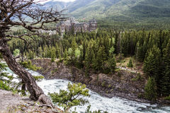 Bow River and Fairmont Spring Hotel Royalty Free Stock Image