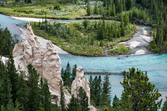 Bow River and the Hoodoos near Banff Stock Image