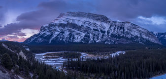 Bow River meandering below the Rundle Mountain Royalty Free Stock Photography