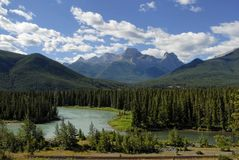 Bow River near Banff Nat'l Par. Glacier-fed Bow River in the Canadian Rockies near Banff, Alberta Stock Photography