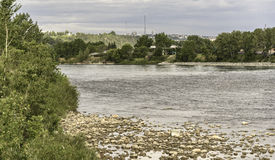 Bow River at Prince`s Island Park. Bow River seen from Prince`s Island Park stock photography