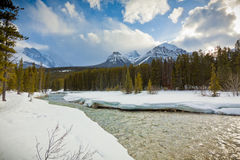 Bow River and Rocky Mountains, Banff Stock Photo