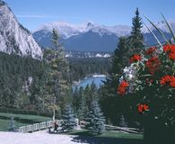 Bow River Valley Banff Alberta Canada. View of the Bow river valley and Fairholme Mountain Range from the entrance of the Banff Springs Fairmont Hotel. 6x7 stock photography