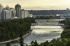 Bow River view. Bow River seen from Calgary downtown royalty free stock photos