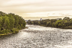 Bow River view. Bow River seen from Calgary suburbs stock photography