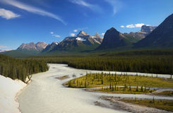 Bow River Vista Banff Alberta Canada. Bow river and mountains view in Banff National Park, Alberta Canada Stock Images