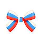 Bow Russian flag. Vector illustration. Ribbon tape bow Russian flag isolated on white background. Tricolor bow icon in flat style. Design element for 23 February Stock Photo