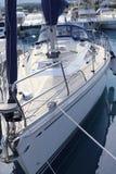 Bow saiboat view white hull teak wood deck royalty free stock photography