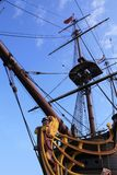 Bow of a sailing ship. The bow and one of the masts of an old sailboat Stock Images